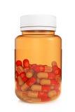 Концепция здравоохранения. Медицинская бутылка с пилюльками Стоковая Фотография RF