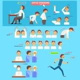 Концепция здравоохранения синдрома офиса иллюстрация вектора