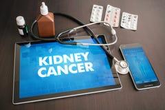 Концепция диагноза рака почки (типа рака) медицинская на таблетке Стоковые Изображения