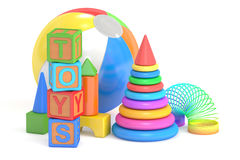 Концепция игрушек детей, перевод 3D иллюстрация вектора