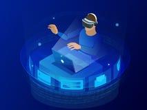 Концепция игр испытания Шлемофон виртуальной реальности равновеликого человека нося и показывать пока сидящ на его столе в творче иллюстрация вектора