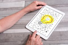Концепция идей на планшете стоковое изображение