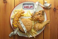 Концепция диеты высококалорийной вредной пищи Стоковая Фотография