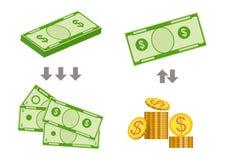 Концепция изменяя счетов для более малых денег также вектор иллюстрации притяжки corel иллюстрация вектора