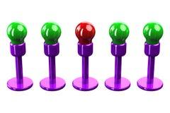 Концепция: изолированные цветные лампы на белой предпосылке иллюстрация штока