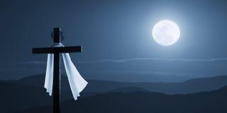 Концепция Иисус залитого лунным светом утра пасхи христианская перекрестная поднятый на ночу Стоковая Фотография RF