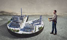 Концепция индустриального строительства Мультимедиа Стоковое Изображение RF