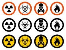 Концепция индустрии Комплект различных знаков: химикат, радиоактивные, опасные, токсические, ядовитые, опасные вещества иллюстрация вектора