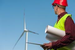 Концепция инженеров и ветрянок стоковая фотография rf