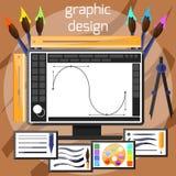 Концепция инструментов графического дизайна и дизайнера Стоковое Фото