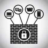 Концепция интернета данным по системы безопасности иллюстрация вектора