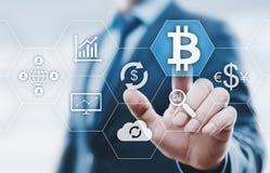 Концепция интернета дела технологии валюты монетки BTC цифрового бита Bitcoin Cryptocurrency Стоковые Изображения RF