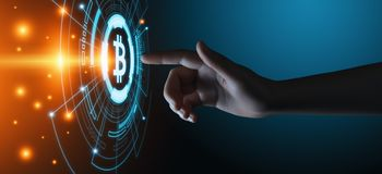 Концепция интернета дела технологии валюты монетки BTC цифрового бита Bitcoin Cryptocurrency стоковое изображение