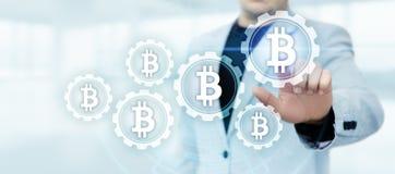 Концепция интернета дела технологии валюты монетки BTC цифрового бита Bitcoin Cryptocurrency стоковые фотографии rf