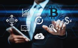 Концепция интернета дела технологии валюты монетки BTC цифрового бита Bitcoin Cryptocurrency стоковое фото rf