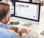 Концепция интернет-страницы дознания регистра онлайн Стоковое Фото