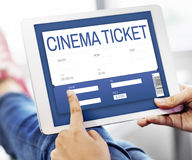 Концепция интерфейса ресервирования билета кино онлайн Стоковая Фотография RF