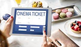 Концепция интерфейса ресервирования билета кино онлайн Стоковые Фото