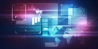 Концепция интерфейса технологии HUD цифрового изображения с micr цепи Стоковое Изображение