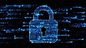 Концепция информационной защиты Замок кода в виртуальном пространстве иллюстрация вектора