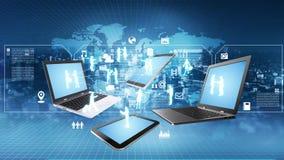 Концепция информационной технологии информации в интернете иллюстрация вектора
