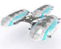 Концепция дирижабля для многофункциональной пользы Иллюстрация дизайн-проекта 3D Иллюстрация вектора