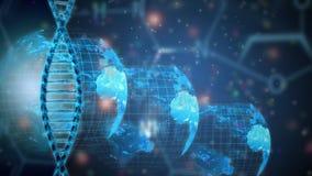 Концепция исследования генетики дна глобальная Стоковое Фото