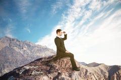 Концепция исследования с бизнесменом стоковая фотография