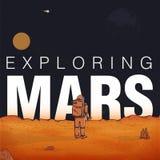 Концепция исследуя, колонизация Марса Астронавт в костюме пилота на красной планете Красочная иллюстрация вектора с Стоковое Изображение RF