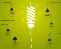 Концепция идеи - лампочки накаливания на проводах Стоковое Изображение RF