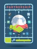 Концепция идеи партнерства вектора с значками дела Стоковое Изображение