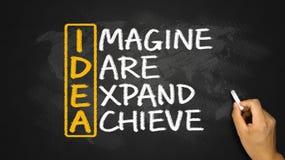 Концепция идеи: представьте что вызов расширить достигает стоковые фотографии rf