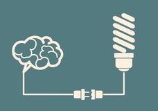 Концепция идеи - электрическая лампочка соединяется к мозгу Стоковое Изображение RF