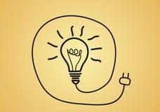 Концепция идеи - электрическая лампочка эскиза Стоковое фото RF