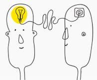 Концепция идей творения brainwaves примитивный ребячий стиль шаржа Иллюстрация вектора изолированная на белой предпосылке бесплатная иллюстрация