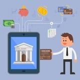 Концепция иллюстрации вектора банка интернета Стоковое Фото