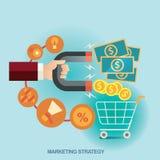 Концепция иллюстрации вектора для стратегии бизнеса и магазина розничной торговли просматривайте детализированный шарж дела чувст Стоковое фото RF