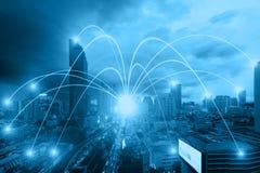 Концепция и Wi-Fi соединения сети дела в городе Technol Стоковое Изображение