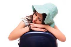 Концепция каникул перемещения с багажом на белизне Стоковая Фотография