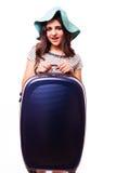 Концепция каникул перемещения с багажом на белизне Стоковые Фото