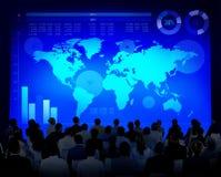 Концепция карты мира роста диаграммы глобального бизнеса Стоковое Фото