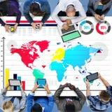 Концепция карты мира роста диаграммы глобального бизнеса Стоковые Фотографии RF