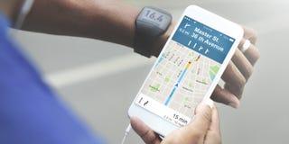 Концепция карты положения направлений навигации GPS Стоковое фото RF