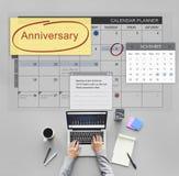 Концепция календаря плановика назначения события годовщины стоковые изображения rf