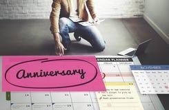 Концепция календаря плановика назначения события годовщины стоковые фотографии rf