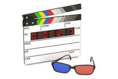 концепция кино 3D, стекла 3D и цифровой нумератор с хлопушкой кино, 3 иллюстрация вектора