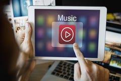 Концепция кнопки игры музыки развлечений мультимедиа Стоковое Фото