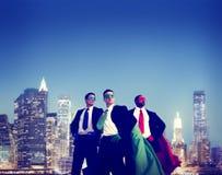 Концепция команды городского пейзажа бизнесменов супергероя Стоковая Фотография RF