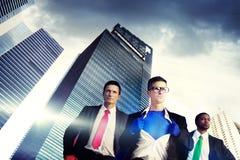 Концепция команды городского пейзажа бизнесменов супергероя Стоковые Фото
