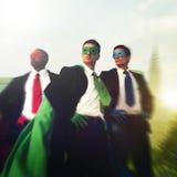 Концепция команды городского пейзажа бизнесменов супергероя Стоковые Изображения